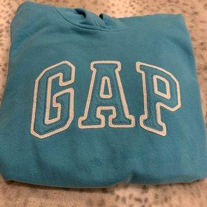 GAP spell out hoodie sz M teal in trendy worn cond